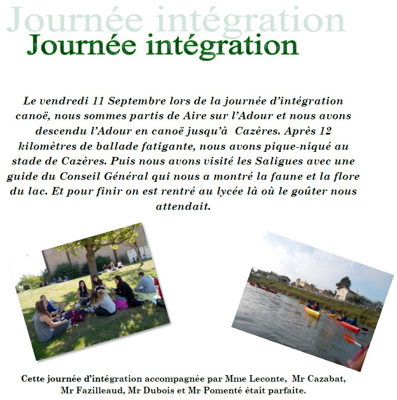 integration 3eme